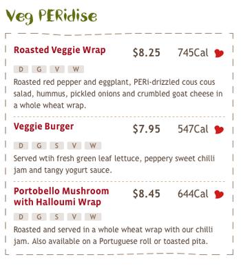 Nando's Peri Peri Vegetarian menu  offerings