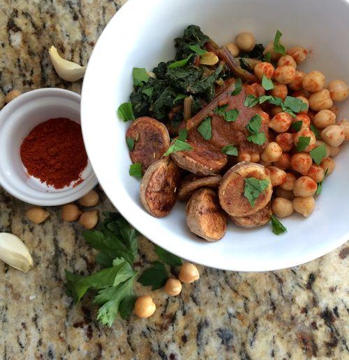 Romesco Potato Chickpea Chard Bowl