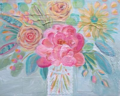 54 Sun Blooms - Original Floral Abstract Expressionist  Painting - Lisa Cohen