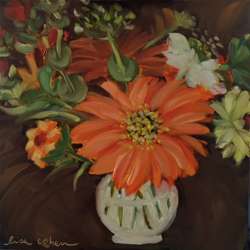 "145 Fabbioli Flowers 2 - 8"" x 8"" original expressive  oil painting on gessobord - Lisa Cohen"