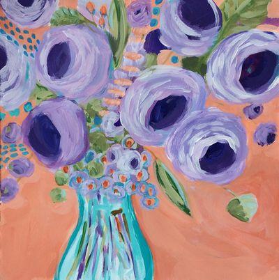 43 Abundance Floral Expressionism Acrylic Bouquet Lisa Cohen