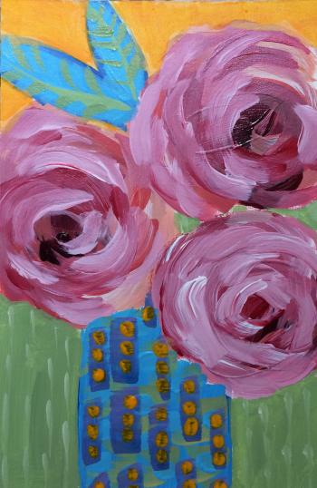 125 Tiny Bouquet, Big Love 6x4 Acrylic Expressive Original Painting - Lisa Cohen