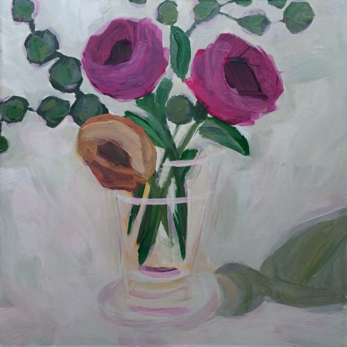 129 Sweet Simiplicity 6x6 Acrylic Expressive Original Painting - Lisa Cohen