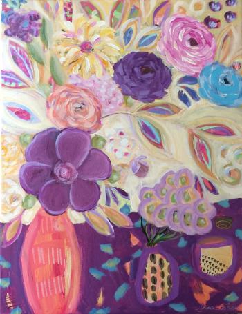 "133 Flower Frenzy - 14"" x 11"" - Lisa Cohen Expressive Acrylic Painting"