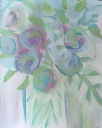 138 What Remains - Abstract Expressive Acrlyic Flowers Painting - Lisa Cohen