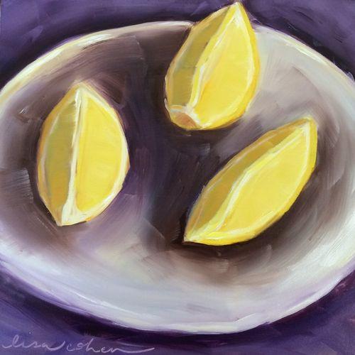 107 Pucker - 6x6 oil painting lemon still-life - Daily Painting - Lisa Cohen
