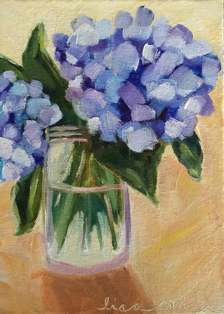 108 Uplift - Hydrangeas in Glass Jar - 5x7 oil on canvas panel  - Daily Painting - Lisa Cohen