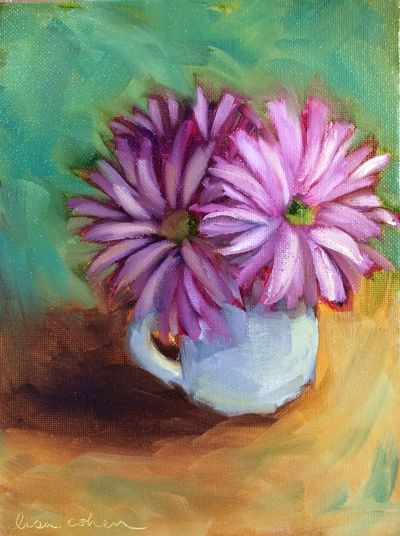 119 Teacup Flowers - Expressive Oil Painting - Lisa Cohen