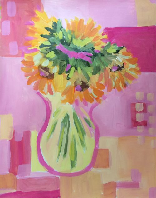 """140 Sunny Patchwork - 11""""x14"""" expressive flowers - acrylic on paper - Lisa Cohen"""